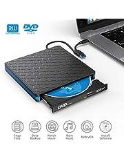 Lecteur DVD/CD Externe Type-c et USB 3.0, Apiker Graveur CD Externe avec Transmission Rapide Câble USB/Type C +/-RW ROM Player Compatible Windows/Mac OS/Vista/Linux pour iMac/Macbook Pro/Macbook