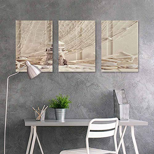 (BE.SUN Canvas Wall Art Sticker Murals,Fishing Net Decor,Marine Theme Sea Stars and Shells Underwater Life Wooden Lighthouse,On Canvas Abstract Artwork 3 Panels,24x47inchx3pcs,Beige Cream)