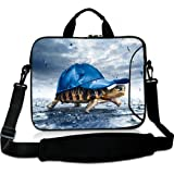 Wondertify 12-12.5 Inch Water-resistant Neoprene Laptop Shoulder Bag Sleeve Briefcase - Funny Tortoise With Hat Laptop Carrying Bag Case for iPad Pro/iPad Air 2/Surface Pro 3/4/5/Ultrabook/ThinkPad