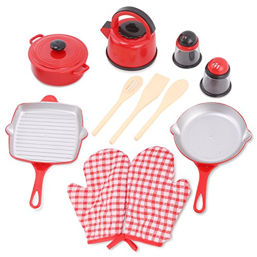 Liberty Imports Kitchen Cookware Pots and Pans Plastic Pretend Playset for Kids - Grill Pan, Kettle, Cooking Utensils Set, Salt and Pepper Shakers