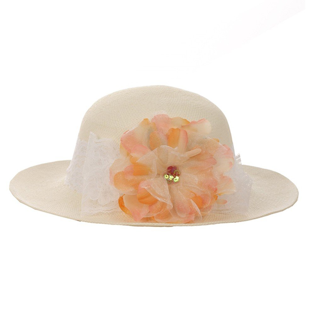 Kid's Dream Girls Straw Peach Detachable Flower Lace Adorned Summer Hat 21''