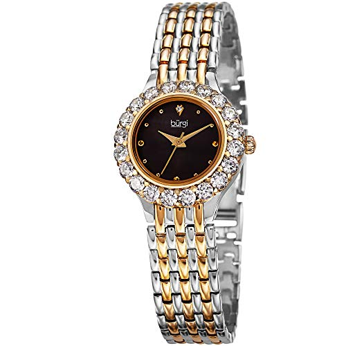 Burgi Women's BUR107 Crystal Accented Swiss Quartz Watch with White Mother of Pearl Dial and Metal Bracelet (Yellow Gold/Silver) - Mother Of Pearl Yellow Bracelet