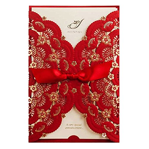WISHMADE 20pcs Red Wedding Invitations Cards with envelopes Laser Cut Flower & Ribbon Classic Romantic Invites for Birthday Engagement, 20 Pieces