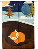 KARUILU home Japanese Noren Doorway Curtain Tapestry 33.5″ Width x 47.2″ Long (Sleeping Fox) For Sale