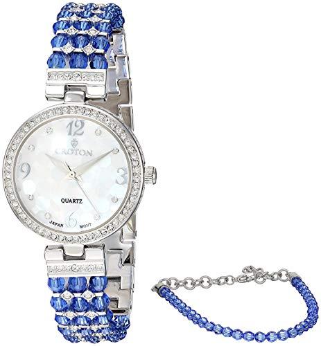 CROTON Women's Swarovski Bead Quartz Watch with Brass Strap, Blue, 12.7 (Model: - Steel Croton Stainless Bracelet
