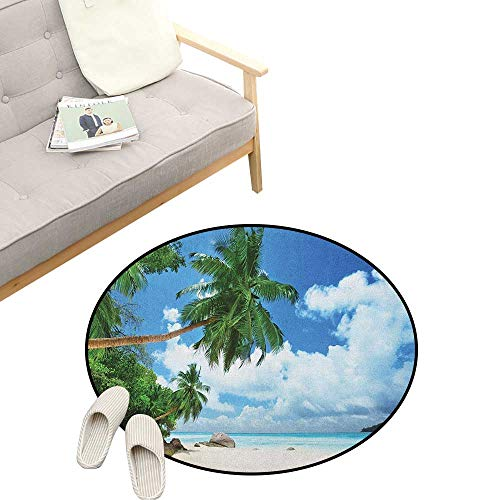- Beach Round Area Rug Non-Slip ,Paradise Shore On Mahe Island in The Seychelles Palm Trees Jungle Photo, Living Room Bedroom Coffee Table 39