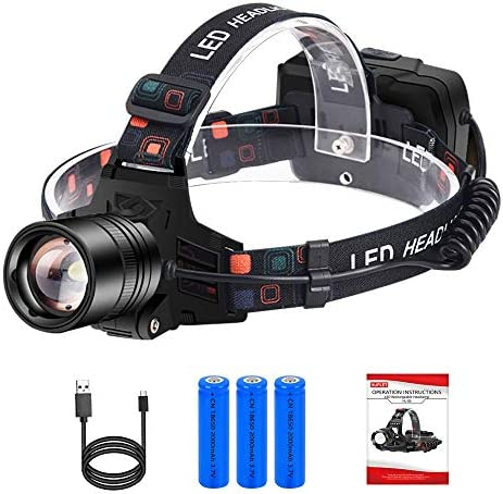 Headlamp Flashlight USB Rechargeable Led Head Lamp High 3000 Lumen Work Headlight, IP65 Waterproof Zoomable Headlamp with 18650 Battery & Adjustable Headband, Head Torch for Camping, Hiking, Outdoors