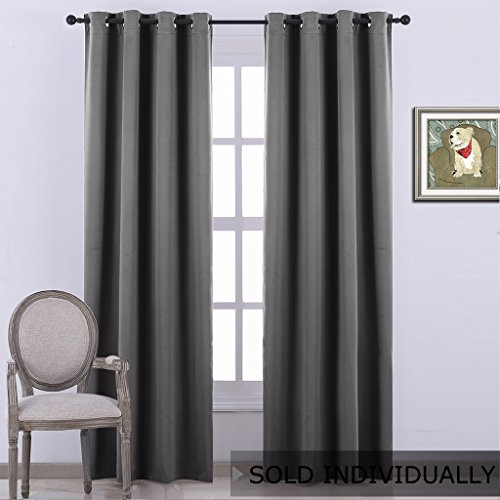 Sliding Panel Top (NICETOWN Blackout Blind Curtain Window Treatment - (Gray/Grey Color) Thermal Insulated Drape Shade Grommet Sliding Glass Door, W52 x L84 inch, 8 Grommets/Rings Top, 1 Panel)