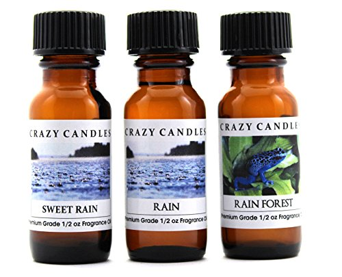 Crazy Candles 3 Bottles Set, 1 Sweet Rain, 1 Rain, 1 Rain Forest 1/2 Fl Oz Each (15ml) Premium Grade Scented Fragrance Oils By