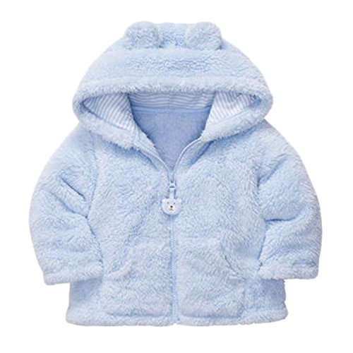 Meetloveyou Autumn Winter Baby Girls Sweet Long Sleeve Hooded Thick Warm Jackets Kids Infant Princess Outerwear Coats Ropa de Ninas Blue 10-12 Months