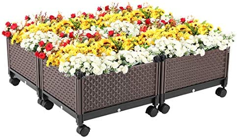 Vivohome Elevated Plastic Wheeled Raised Garden Bed Planter Kit For Flower Vegetable Grow Brown Set Of 4 Buy Online At Best Price In Uae Amazon Ae