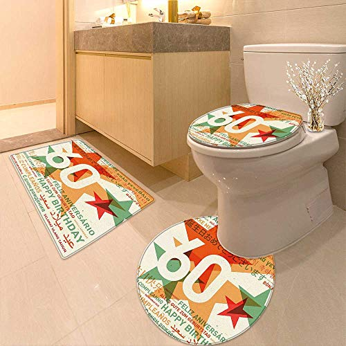 Printsonne Non-Slip Bath Toilet Mat Decorations World Cities Birthday Party with Abstract Stars Green Vermilion and White with High Absorbency -