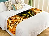 Custom Wildlife Bed Runner, Animal Tiger Portrait Bed Runners And Scarves Bed Decoration 20x95 inch