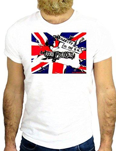 T SHIRT Z0490 UK UNITED KINGDOM FLAG PISTOLS COOL MUSIC ROCK NICE LONDON GGG24 BIANCA - WHITE M