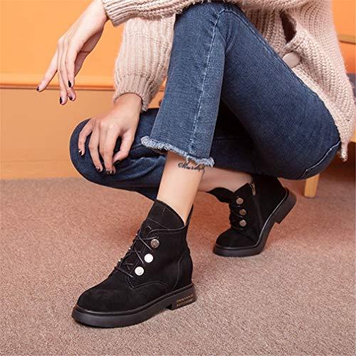 Tacón Negro Confort Con Mujer Caminar Botas Ciclismo Moda Al Yan otoño Zapatos Para Aire Medio Libre De Primavera Plano 8Uxqp