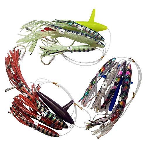 Squid fishing lure fully rigged for saltwater offshore big game trolling