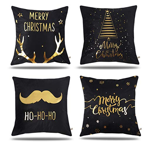 ONWAY Gold Antlers/Beard / Tree Xmas Decoration Merry Christmas Soft Velvet Decorative Throw Pillow Covers 18 x 18 for Home (Set of 4, Gold Foil Xmas Black)