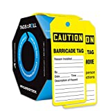 Accuform TAR136 Tags By-The-Roll Inspection and Status Tags, Legend''CAUTION BARRICADE TAG'', 6.25'' Length x 3'' Width x 0.010'' Thickness, PF-Cardstock, Black on Yellow (Pack of 100)