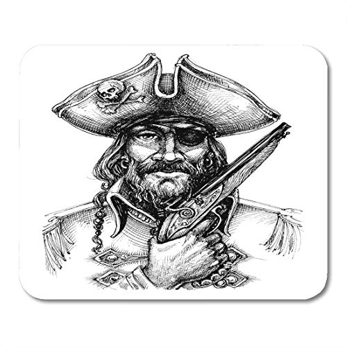 - Semtomn Mouse Pad Caribbean Pirate Portrait Drawing Engraved Hand Black Drawn Nautical Mousepad 9.8