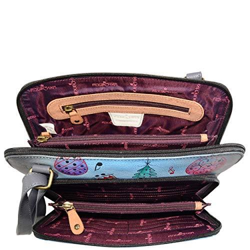 Handbag Genuine 7278 Zip body Cross Women's Around Anuschka Organizer ntp Leather t5wn1azIq