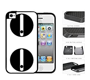 Sneaky Look Cartoon Panda Eyes 2-Piece Dual Layer High Impact Rubber Silicone Cell Phone Case Apple iPhone 4 4s