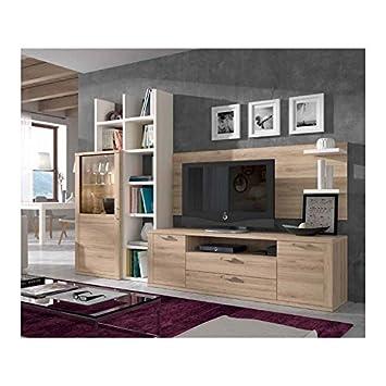 Amazon.de: Möbel für Wohnzimmer, 2, 63 m, Natureiche kombiniert mit ...