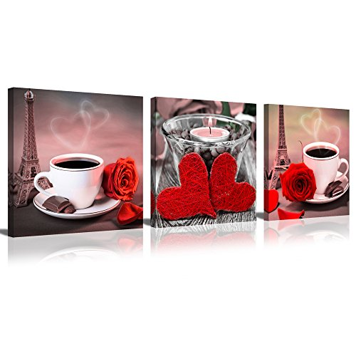 ModeArt 3 Panels Classic Coffee with Rose Set in Eiffel Tower and Heart Shape Candle Background for Lovers Coffee Time Canvas Prints (12