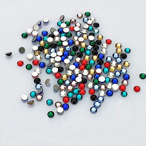 LolliBeads Resin Crystal Round Nail Art Mixed Flat Backs Acrylic Rhinestones Gems,Size 3 mm, Color Mixed (2000Pcs)