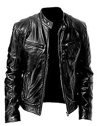 Men's Genuine Leather Jacket Cowhide/Lambskin Motorbike Casual Jacket