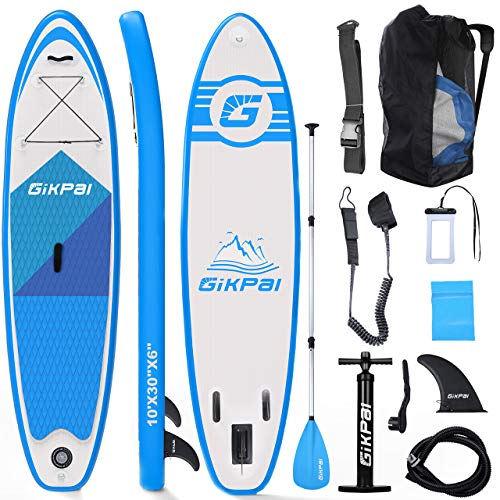Fostoy Paddle Board, Inflatable Stand Up Paddle Boards-Premium SUP Adjustable Paddle Board Paddles Accessories &Backpack, Ankle Leash, Air Pump-Perfect for Youth & Adult (Paddle Board)