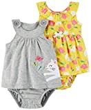 Carter's Baby Girls' 2-Pack One Piece Romper, Grey