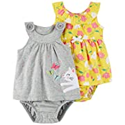 Carter's Baby Girls' 2-Pack One Piece Romper, Grey Kitty/Yellow Floral, 9 Months