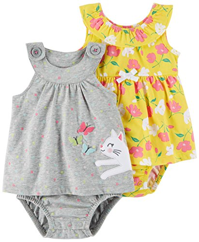 Carter's Baby Girls' 2-Pack One-Piece Romper, Grey Kitty/Yellow Floral, 18 Months