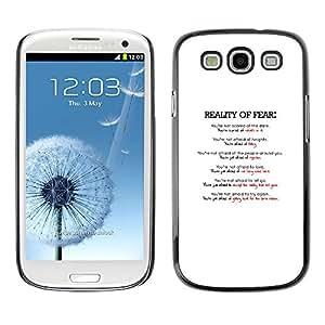 LECELL--Funda protectora / Cubierta / Piel For Samsung Galaxy S3 -- REALIDAD DE LA TIPOGRAFÍA MIEDO --