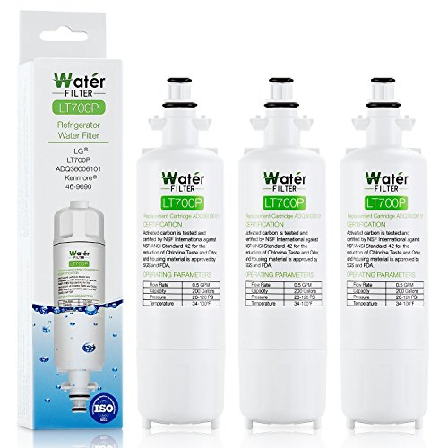 LT700P LG Water Filter ADQ36006101 ADQ36006102, 200 Gallon Capacity Refrigerator Water Filter Replacement 3-fail (White)