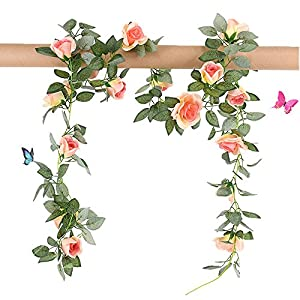 Greentime 2 Pcs Fake Flowers Vine 7.8 FT 16 Heads Silk Artificial Roses Garland Plant for Wreath Wedding Party Home Garden Wall Decoration, Champagne 14