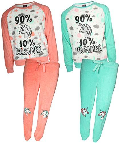 dELiA*s Girls' 4-Piece Coral Fleece Pajama Set (2 Full Sets) Unicorn, Size 5/6']()