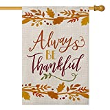 AVOIN Always be Thankful House Flag Vertical Double Sized, Fall Thanksgiving Harvest Burlap Yard Outdoor Decoration 28 x 40 Inch