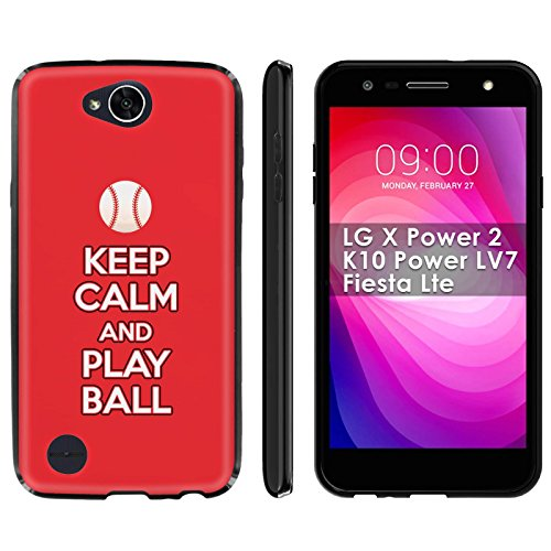 (LG X Power 2/K10 Power LV7/Fiesta Lte Soft Mold [Mobiflare] [Black] Thin Gel Protect Cover - [Play Ball - Cincinnati] for LG X Power2/K10 Power LV7/Fiesta Lte [5.5