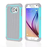 OHOH Premium Soft Silicon Plastic Dual Layer Armor Full-Body Super Protection Case for Galaxy S6(Hot Blue)