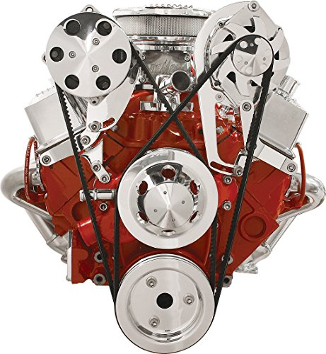 NEW BILLET SPECIALTIES SBC POLISHED ALTERNATOR & A/C COMPRESSOR BRACKETS, TOP MOUNT, FOR SMALL BLOCK CHEVY SHORT WATER PUMP