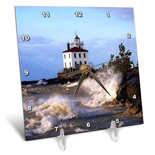 3dRose dc_61705_1 Fairport Harbor Lighthouse Looking Over Lake Erie-Desk Clock, 6 by 6-Inch ()