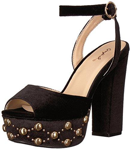 Qupid Women's Chunky Studded Platform Heeled Sandal, Black Velvet, 7.5 M (Velvet Platform Sandals)