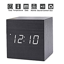 GESIMEI Alarm Clock Small Cube Wood Clock LED Mute Bedside Clock Temperature Digital Clock with Sound Control Function(Black White)
