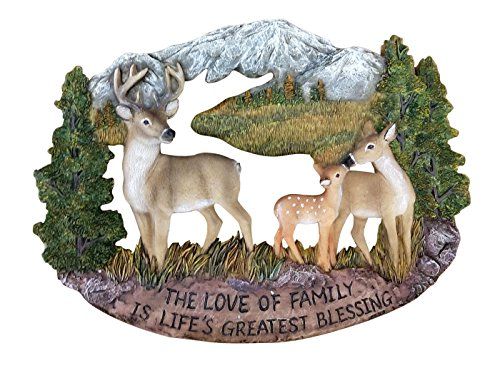 Pine Ridge Deer Family Wall Hanging Plaque Home Decor Inscribed The Love of Family is Life