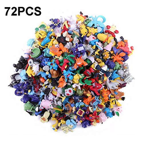 FIFTYSTARS 72 Pcs Mini Action Figures Monster Toys Set for Kids Boys Girls, Great Birthday Party Gifts with Pokemon Game Stories