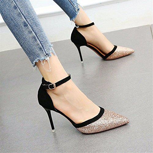 YMFIE La Multa de Las Mujeres con Lentejuelas señaló Elegante Temperamento Zapatos Huecos Solos Zapatos de tacón Alto B