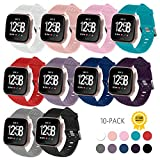 Fitbit Versa Bands,Fitbit Versa Bands for Women Men Small Large,Gymu Replacement Accessory Breathable Bracelet Strap with Secure Metal Buckle for Fitbit Versa Smartwatch (V01-10 Pack, Large 6.7''-8.2'')
