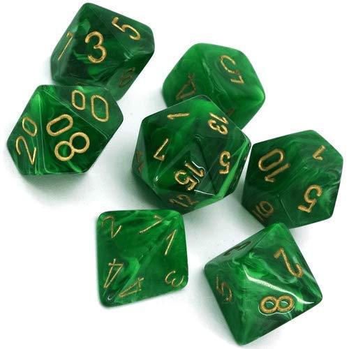 Chessex CHX27435 Dice-Vortex Green/Gold Set -
