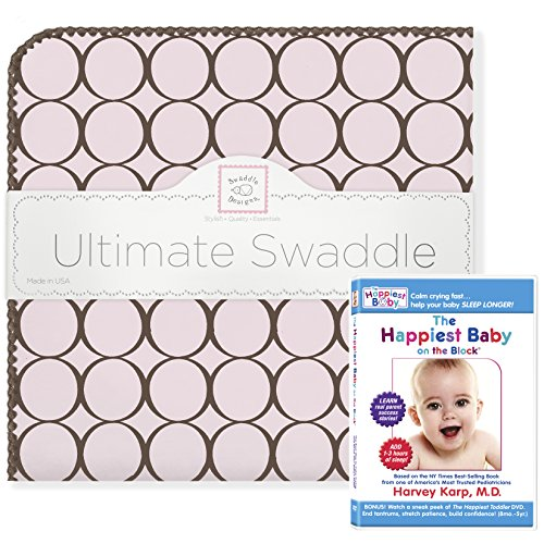 SwaddleDesigns Ultimate Swaddle, X-Large Receiving Blanket + The Happiest Baby DVD Bundle, Brown Mod Circles on Pink (Mom's Choice Award -